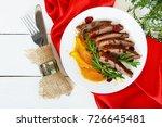 goose breast magret in berry... | Shutterstock . vector #726645481