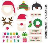 christmas santa  elf  deer and... | Shutterstock .eps vector #726656935