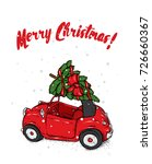 retro car with a christmas tree ... | Shutterstock .eps vector #726660367