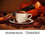 coffee and violin - stock photo