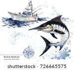 Swordfish. Watercolor Marlin...