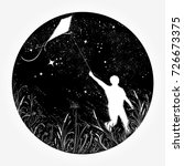 boy flies a kite in the...   Shutterstock .eps vector #726673375