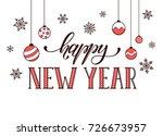 happy new year postcard...   Shutterstock . vector #726673957