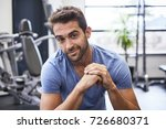 handsome gym guy smiling to... | Shutterstock . vector #726680371