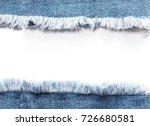 edge frame of blue denim jeans... | Shutterstock . vector #726680581