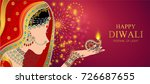 happy diwali festival card with ... | Shutterstock .eps vector #726687655