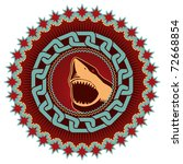 Illustrated artistic emblem with shark. Vector illustration. - stock vector