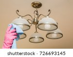 hand in rubber protective glove ... | Shutterstock . vector #726693145