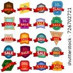 set of twenty discount stickers.... | Shutterstock .eps vector #726702721
