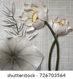 Resin Relief Of Lotus. Carved...