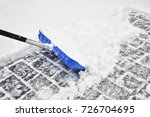motion blurry blue colored snow ... | Shutterstock . vector #726704695