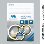 blue flyer design template with ... | Shutterstock .eps vector #726708589