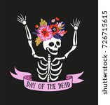 skeleton in the floral wreath.... | Shutterstock .eps vector #726715615