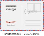 postcard with airplane icon... | Shutterstock .eps vector #726731041