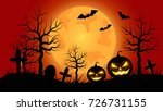 halloween pumpkins with orange... | Shutterstock .eps vector #726731155