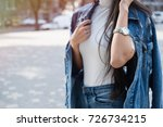 fashionable young woman in...   Shutterstock . vector #726734215