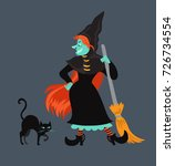 red haired  witch in black...   Shutterstock .eps vector #726734554