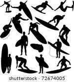 surfers collection 1   vector | Shutterstock .eps vector #72674005