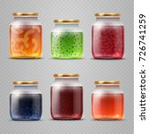 glass jar with with jam and...   Shutterstock .eps vector #726741259