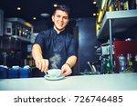 barista prepares coffee  latte  ... | Shutterstock . vector #726746485