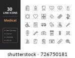 30 medical line icons | Shutterstock .eps vector #726750181