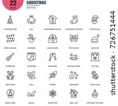 simple set of christmas related ... | Shutterstock .eps vector #726751444
