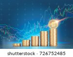 stacks of bitcoins standing... | Shutterstock . vector #726752485
