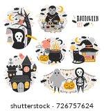 bundle of halloween scenes with ... | Shutterstock .eps vector #726757624