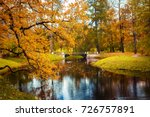 beautiful autumn park  pushkin. ... | Shutterstock . vector #726757891