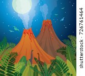 two cartoon active volcanoes ... | Shutterstock .eps vector #726761464