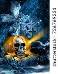 Small photo of horror fear pumpkin skull night cross grave fence moonlight gloom holiday