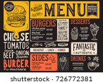 burger food menu for restaurant ... | Shutterstock .eps vector #726772381