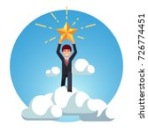 business man rise above sky... | Shutterstock .eps vector #726774451