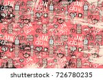 vector pattern with pictures on ... | Shutterstock .eps vector #726780235