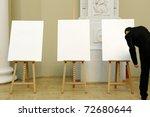three artist easel. | Shutterstock . vector #72680644