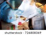 double exposure scientist... | Shutterstock . vector #726808369