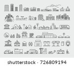 city design elements line icons ...