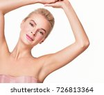beautiful young woman holding... | Shutterstock . vector #726813364