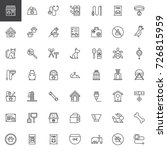 Stock vector pet shop accessories line icons set outline vector symbol collection linear style pictogram pack 726815959