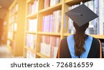 graduates stand in the library... | Shutterstock . vector #726816559