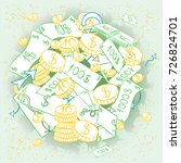 hand drawn banknotes and  coins.... | Shutterstock .eps vector #726824701