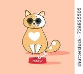 funny cat in retro sunglasses | Shutterstock .eps vector #726825505