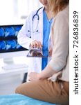 doctor and patient discussing... | Shutterstock . vector #726836839