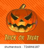 jack o lantren on orange stripe ... | Shutterstock .eps vector #726846187