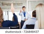 businessman in seminar pointing ... | Shutterstock . vector #726848437