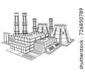 sketch realistic nuclear power... | Shutterstock .eps vector #726850789
