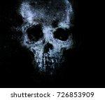 spooky blue skull isolated on... | Shutterstock . vector #726853909