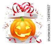 smiling halloween pumpkin... | Shutterstock .eps vector #726859837