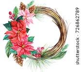 watercolor christmas wreath... | Shutterstock . vector #726862789