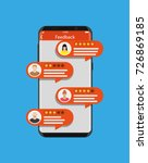 smartphone with rating app.... | Shutterstock .eps vector #726869185